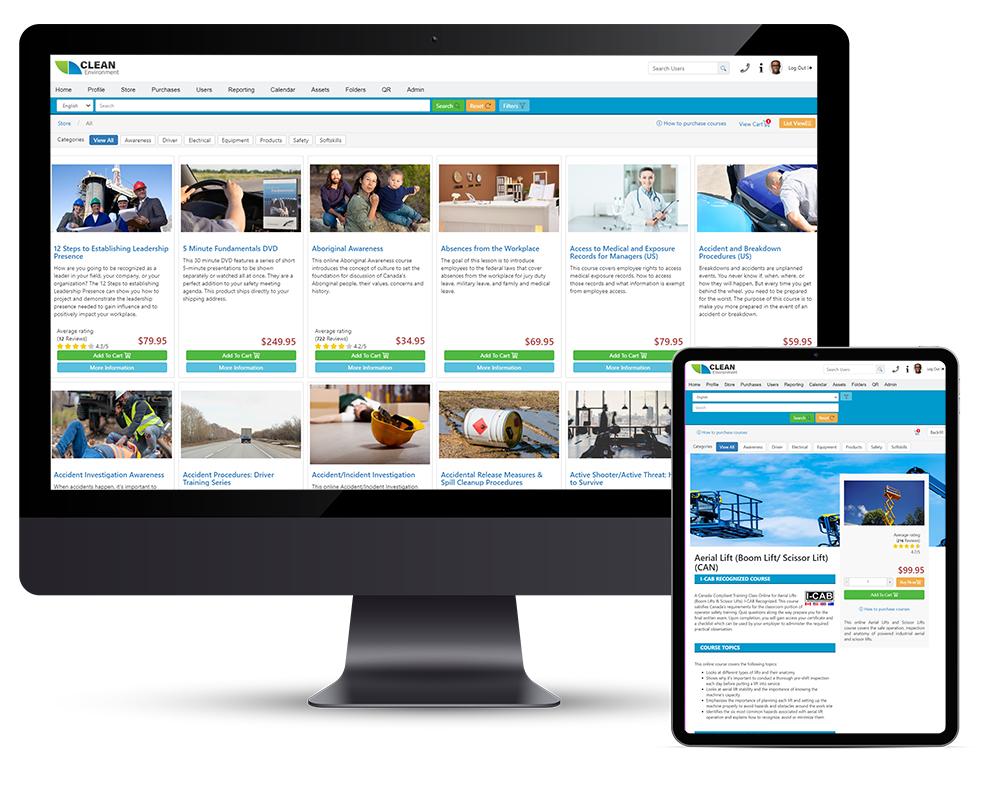 online training software on desktop